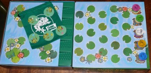 Water Lily board setup showing starting frog positions and other game components