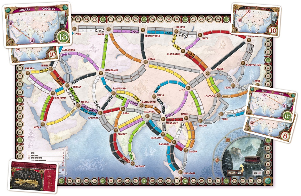 Ticket To Ride India Map.Dale Yu Review Of Ticket To Ride Asia The Opinionated Gamers