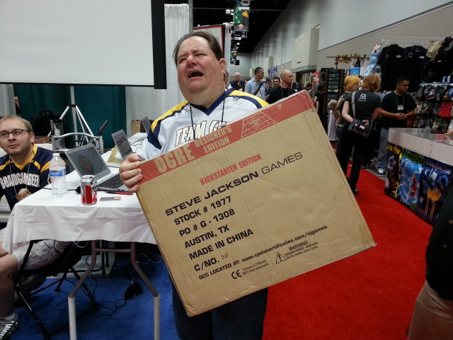 Aldie throwing out his back carrying a case of the new OGRE from SJG.  Of course, the entire case only holds ONE game!