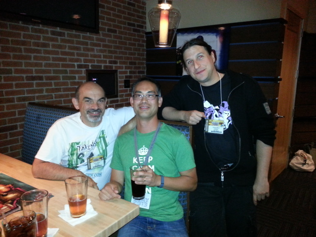 A well deserved beer at the end of the night with two great designers (at the Asmodee press event)