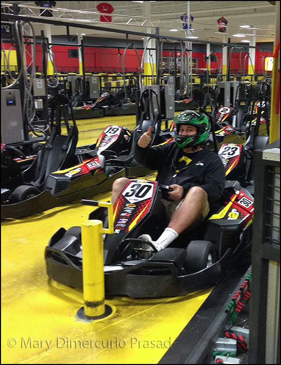 Ted in a go-kart