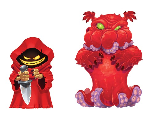 A red cultist on the left, his evil Offspring on the right