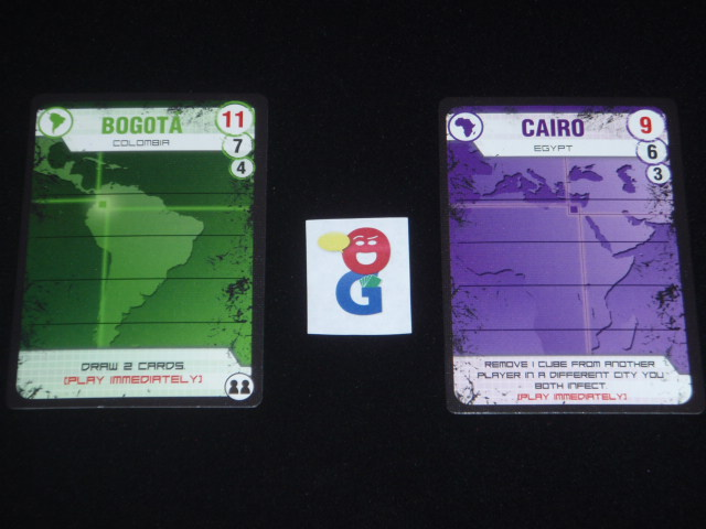 Two of the city cards in the game