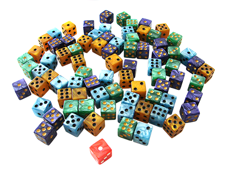 The different colored dice in the game