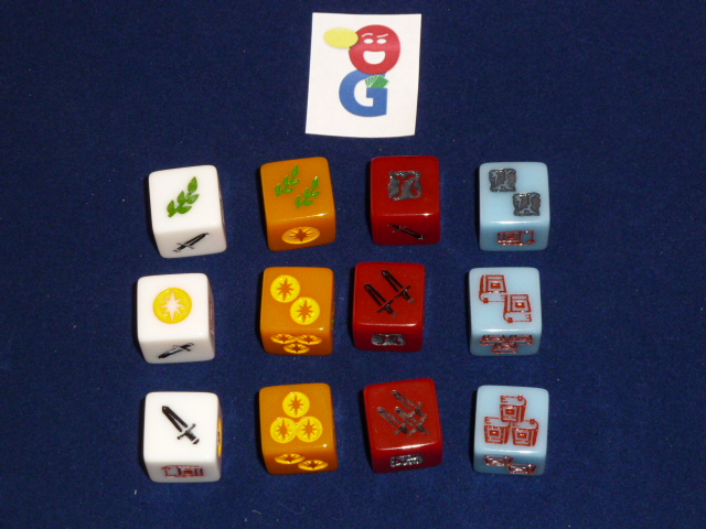 The different dice and some example faces you can roll with each