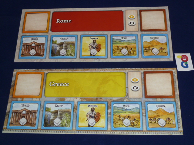 Two of the player mats