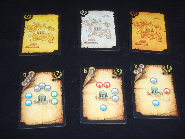 Three different map cards