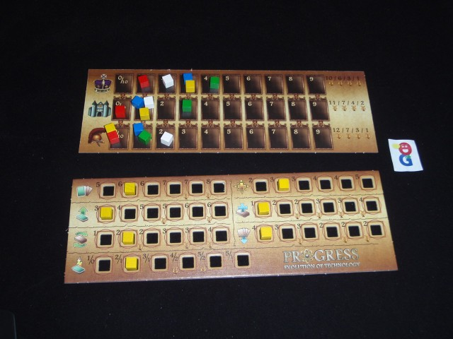 The player board (bottom) with the 7 attributes; the power board on top
