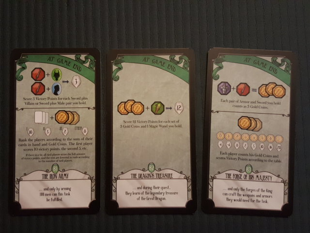 The three A setting cards - these describe the special in-game scoring action