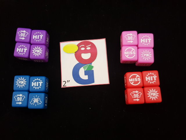 Wrestling dice in 4 player colors