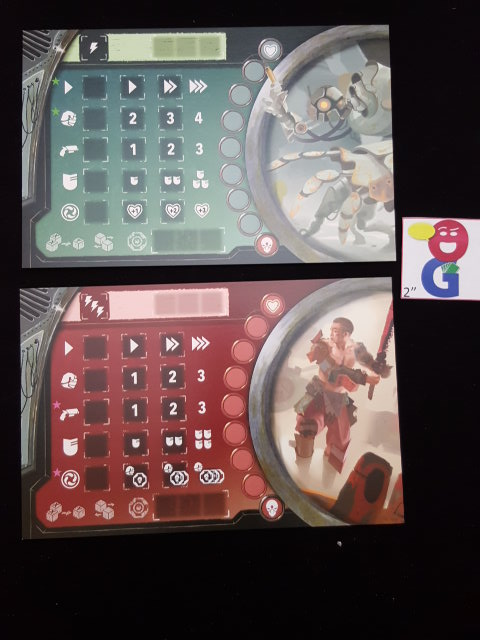 two of the player boards. note how the actions are different