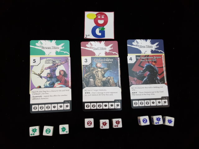3 action cards and their corresponding dice