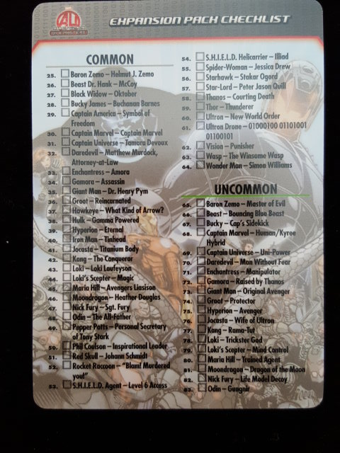 List of possible cards/dice