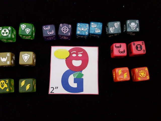 The different character dice in the main set