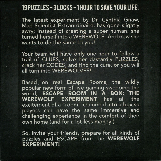 Escape Room in a Box: The Werewolf Experiment - Box Back
