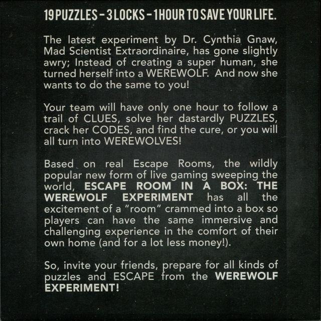 Escape Room in a Box: The Werewolf Experiment - Box Back