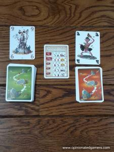 Green number cards on the left; orange tactic cards on the right