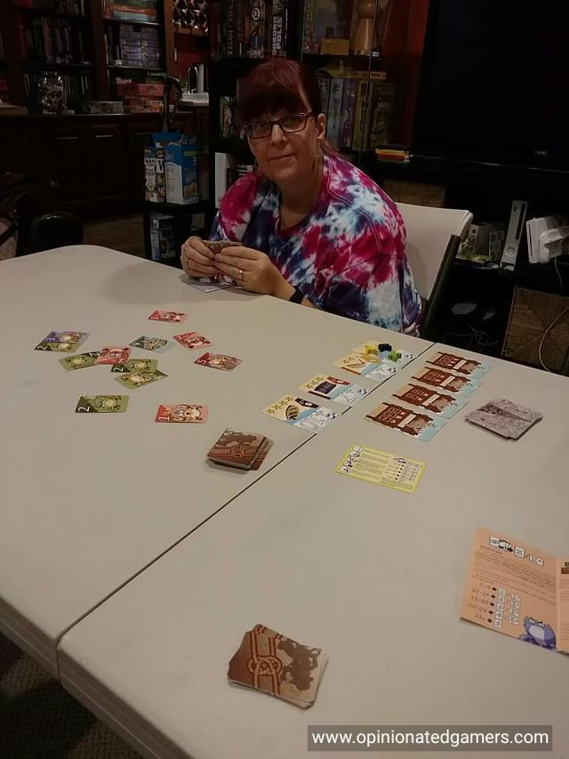 Karen pondering her play in Crabs!
