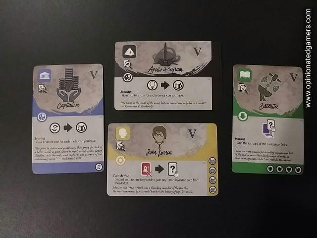 Four examples of Age V cards (from my prototype set)