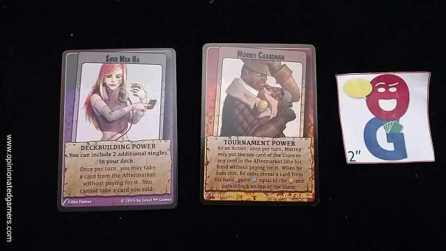 Two of the characters - Deckbuilding power on the left, Tournament power on the right